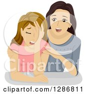 Clipart Of A Girl Trying To Comfort Her Crying Friend Royalty Free Vector Illustration