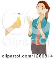 Clipart Of A Brunette White Teenage Girl Turning Down An Offer For Beer Royalty Free Vector Illustration