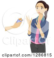 Clipart Of A Brunette White Teenage Girl Turning Down An Offer For Cigarettes Royalty Free Vector Illustration by BNP Design Studio