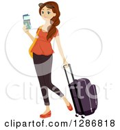Clipart Of A Happy Traveling Brunette White Woman Holding A Passport And Pulling Luggage Royalty Free Vector Illustration