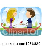 Clipart Of A Caucasian Stick Couple With The Man Proposing To A Woman In A Boat Royalty Free Vector Illustration