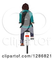 Clipart Of A Rear View Of A Brunette White Teenage Boy Riding A Bike To School Royalty Free Vector Illustration