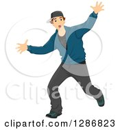 Clipart Of A Brunette White Male Teenager Dancing Hip Hop Royalty Free Vector Illustration by BNP Design Studio