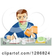 Clipart Of A Brunette White Male Student Eating Writing Listenting To Music And Studying Royalty Free Vector Illustration