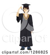 Clipart Of A Happy Brunette White Male Graduate In A Gown Royalty Free Vector Illustration