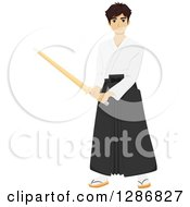 Clipart Of A Young Male Asian Kendo Fighter With A Bamboo Stick Royalty Free Vector Illustration
