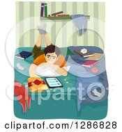 Teenage Boy Usinga Tablet Computer And Snacking In His Messy Bedroom