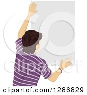 Clipart Of A Rear View Of A Brunette Caucasian Man Hanging A Blank Sign Or Poster Royalty Free Vector Illustration