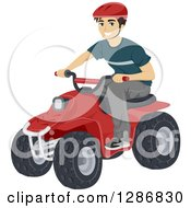 Clipart Of A Happy Young Caucasian Man Riding A Quad Royalty Free Vector Illustration