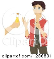 Clipart Of A Brunette White Teenage Boy Refusing An Offer Of Alcohol Royalty Free Vector Illustration