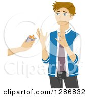 Clipart Of A Blond White Teenage Boy Refusing An Offer Of Cigarettes Royalty Free Vector Illustration by BNP Design Studio