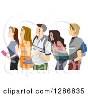 Clipart Of A Diverse Group Of Excited Teenagers Or College Students Waiting In Line Royalty Free Vector Illustration