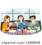 Clipart Of A Group Of Caucasian Male And Female Friends Eating At A Diner Royalty Free Vector Illustration