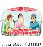 Clipart Of A Group Of Preppy Teenagers Drinking Coffee At A Table Royalty Free Vector Illustration