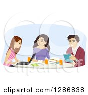 Clipart Of A Group Of Young Women And A Man Studying At A Table Together Royalty Free Vector Illustration