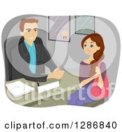 Clipart Of A Brunette White High School Girl Talking To A Guidance Counselor Royalty Free Vector Illustration