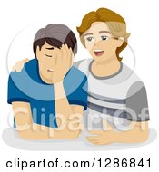 Clipart Of A Despaired White Boy Crying And Being Comforted By A Friend Royalty Free Vector Illustration