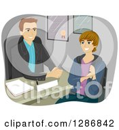 Clipart Of A Happy Caucasian Male High School Student Talking To A Guidance Counselor Royalty Free Vector Illustration