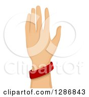 Clipart Of A Caucasian Hand Wearing A Red Baller Bracelet Royalty Free Vector Illustration