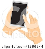 Clipart Of Caucasian Hands Using A Touchscreen Smar Cell Phone Royalty Free Vector Illustration