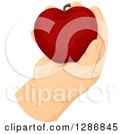 Clipart Of A Fat Caucasian Hand Holding A Red Apple Royalty Free Vector Illustration