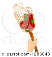 Clipart Of A Caucasian Hand Holding A Fruit Picker With Red Apples Royalty Free Vector Illustration