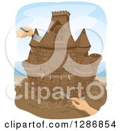 White Hands Sculpting And Brushing A Sand Castle On A Beach