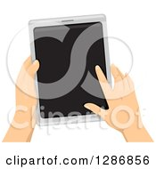 Clipart Of White Hands Holding And Using A Tablet Computer Royalty Free Vector Illustration