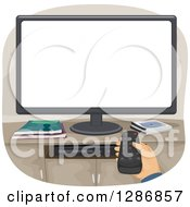 Clipart Of A White Hand Pointing A Remote Control At A Television Royalty Free Vector Illustration