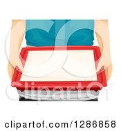 Clipart Of Caucasian Hands Holding A Cafeteria Tray Royalty Free Vector Illustration by BNP Design Studio