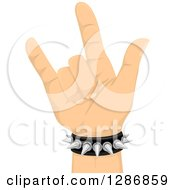Clipart Of A White Hands Gesturing Rock On And Wearing A Spiked Bracelet Royalty Free Vector Illustration by BNP Design Studio