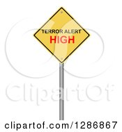 Clipart Of A 3d Yellow Terrer Alert High Warning Sign On White Royalty Free Illustration