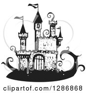 Clipart Of A Black And White Woodcut Fantasy Jack And The Beanstalk Castle Royalty Free Vector Illustration