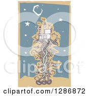 Clipart Of A Woodcut Fantasy Jack And The Beanstalk Castle Moon And Stars Royalty Free Vector Illustration by xunantunich