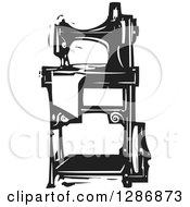 Black And White Woodcut Sewing Machine