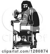 Clipart Of A Black And White Woodcut Arabian Woman Working At A Sewing Machine Royalty Free Vector Illustration