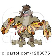 Clipart Of A Hungry Ape Shoving Weenies In His Mouth At A Hot Dog Eating Contest Royalty Free Vector Illustration