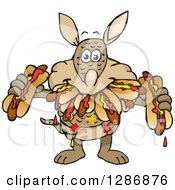 Clipart Of A Hungry Armadillo Shoving Weenies In His Mouth At A Hot Dog Eating Contest Royalty Free Vector Illustration by Dennis Holmes Designs