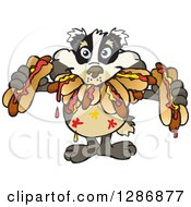 Clipart Of A Hungry Badger Shoving Weenies In His Mouth At A Hot Dog Eating Contest Royalty Free Vector Illustration