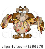 Clipart Of A Hungry Bear Shoving Weenies In His Mouth At A Hot Dog Eating Contest Royalty Free Vector Illustration