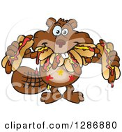 Clipart Of A Hungry Beaver Shoving Weenies In His Mouth At A Hot Dog Eating Contest Royalty Free Vector Illustration by Dennis Holmes Designs