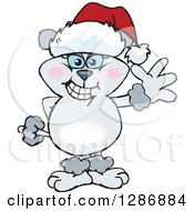Clipart Of A Cartoon Gray Poodle Dog Wearing A Christmas Santa Hat And Waving Royalty Free Vector Illustration