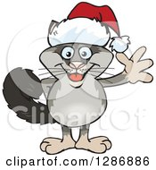 Clipart Of A Cartoon Happy Possum Wearing A Christmas Sant Hat And Waving Royalty Free Vector Illustration