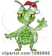 Clipart Of A Cartoon Happy Praying Mantis Wearing A Christmas Santa Hat And Waving Royalty Free Vector Illustration