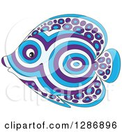 Clipart Of A Blue And Purple Patterned Marine Fish Facing Left Royalty Free Vector Illustration by Alex Bannykh