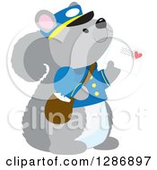 Cute Squirrel Postman Holding A Mail Envelope With A Love Heart