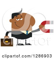 Clipart Of A Modern Flat Design Of A Black Businessman Holding A Magnet Royalty Free Vector Illustration by Hit Toon