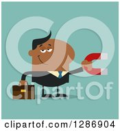 Clipart Of A Modern Flat Design Of A Black Businessman Holding A Magnet Over Turquoise Royalty Free Vector Illustration by Hit Toon