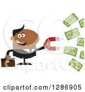 Clipart Of A Modern Flat Design Of A Black Businessman Holding A Magnet To Draw In Money Royalty Free Vector Illustration