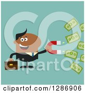 Clipart Of A Modern Flat Design Of A Black Businessman Holding A Magnet To Draw In Money Over Turquoise Royalty Free Vector Illustration
